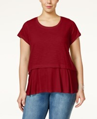 Styleandco. Style And Co. Plus Size Short Sleeve Flounce Hem Top Only At Macy's New Red Amore