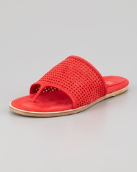 Eileen Fisher Perforated Leather Thong Sandal Red