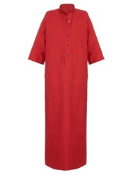 Mafalda Von Hessen Eyelet Trim Cotton Canvas Dress Red