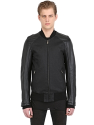 Gareth Pugh Leather And Stretch Denim Bomber Jacket Black