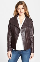 Petite Women's T Tahari 'Angelina' Zip Collar Leather Moto Jacket Berry