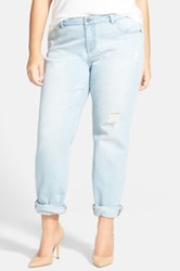 Halogen Distressed Girlfriend Jeans Plus Size Blue