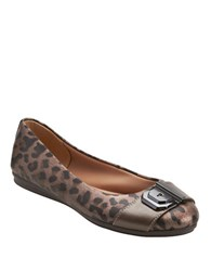 Easy Spirit Gianetta Leopard Print Leather Ballet Flats