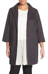 Plus Size Women's Eileen Fisher High Collar Coat Black