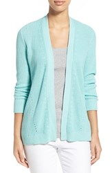 Women's Chaus Ribbed Open Front Cardigan Jade Light