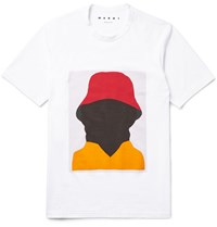 Marni Ekta Printed Cotton Jersey T Shirt White