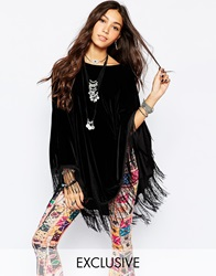 Rokoko Velvet Poncho Top With Tassel Hem Black