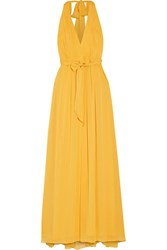 Alice Olivia Kassidy Pleated Crepon Maxi Dress Yellow