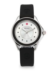 Michele Cape Black Topaz Stainless Steel And Silicone Strap Watch Black