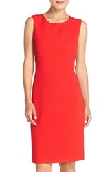 Tahari Women's Seamed Stretch Crepe Sheath Dress Red