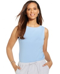 Karen Scott Petite Sleeveless Boat Neck Tank Top Mystical Blue