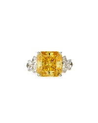 Fantasia Square Cut Canary Cz Ring 7