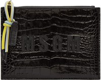 Msgm Black Croc Embossed Leather Pouch