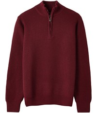 Austin Reed Waffle Knit Zip Neck Jumper Burgundy