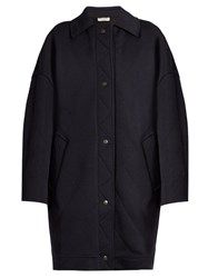 Balenciaga Diamond Quilted Wool Blend Cocoon Coat Blue