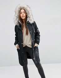 Asos Parka With Detachable Faux Fur Liner Black