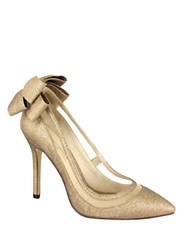 Menbur Crusy Back Bow Pointed Toe Pumps Gold