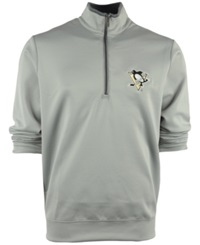 Antigua Men's Pittsburgh Penguins Quarter Zip Pullover Silver Gray