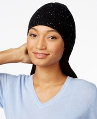 Charter Club Cashmere Donegal Knit Hat Only At Macy's Classic Black Combo