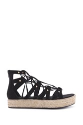 Forever 21 Lace Up Espadrille Wedges Black