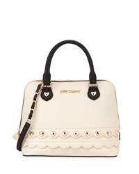 Betsey Johnson Wavy Days Dome Satchel Bag Cream Ivory Black