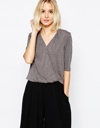 Paisie Wrap Top With Half Sleeve Grey