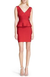 Women's Herve Leger Sleeveless V Neck Peplum Dress Lipstick Red