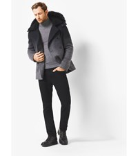 Ombre Melton Fur Trimmed Anorak Peacoat