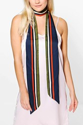Boohoo Khaki Striped Skinny Satin Scarf Multi