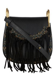 Chloe Hudson Small Suede Tassel Leather Cross Body Bag Black