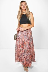 Boohoo Paisley Print Woven Maxi Skirt Orange