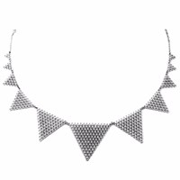 Agnes De Verneuil Silver Collar Necklace Large Jali White Grey Silver