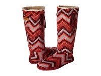 Sanuk Snuggle Up Burgundy Multi Chevron Women's Pull On Boots Red