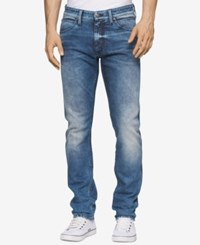 Calvin Klein Men's Slim Fit Uneven Blue Jeans
