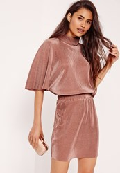 Missguided Pleated Kimono Bodycon Dress Brown Grey
