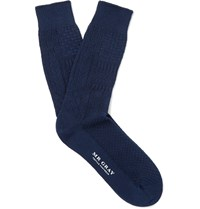Mr. Gray Aran Knitted Cotton Blend Socks Blue