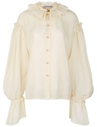 Vika Gazinskaya Cream Wool Ruffle Collar Blouse