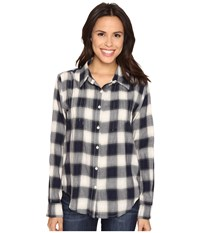 Dylan By True Grit Romantic Blouse Buffalo Check W Embroidery Indigo Natural Women's Long Sleeve Button Up Blue