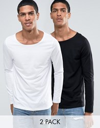 Asos Long Sleeve T Shirt With Boat Neck 2 Pack Black White Multi