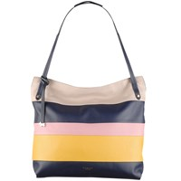 Radley Willow Stripe Leather Large Zip Top Tote Bag Navy