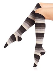 Ilux Candy Cane Striped Knee High Socks Midnight Black