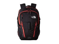 The North Face Surge Tnf Black Pompeian Red Backpack Bags