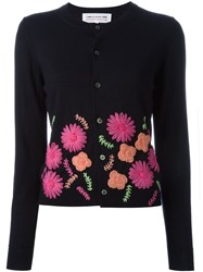 Comme Des Gara Ons Girl Floral Embroidery Cardigan Blue