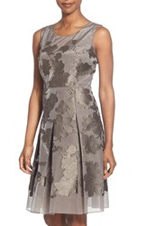 Women's Elie Tahari 'Jessy' Laser Cut Jacquard Fit And Flare Dress Cocoa