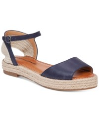 Lucky Brand Flairr Flat Two Piece Espadrille Sandals Women's Shoes Moroccan Blue Natural
