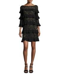 Michael Kors Tiered 3 4 Sleeve Lace Dress Black