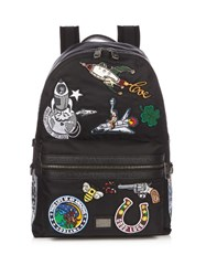 Dolce And Gabbana Patch Applique Nylon Backpack Black Multi