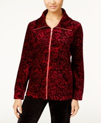 Karen Scott Petite Printed Velour Jacket Only At Macy's Prussian Red