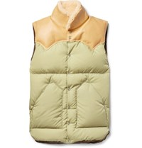 Rocky Mountain Featherbed Christy Leather And Shearling Trimmed Shell Down Gilet Ecru