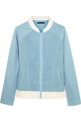 Perfect Moment Honeycomb Mesh And Jersey Bomber Jacket Sky Blue